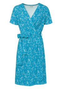 Sukienka kopertowa bonprix turkusowy w kwiaty. Kolor: niebieski. Wzór: kwiaty. Typ sukienki: kopertowe
