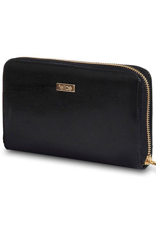 Czarny portfel FELICE w kolorowe wzory
