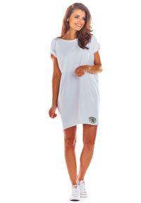 e-margeritka - Sukienka bawełniana na lato biała - uni. Okazja: na co dzień. Kolor: biały. Materiał: bawełna. Sezon: lato. Styl: wakacyjny, casual. Długość: mini