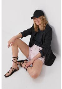 Różowe szorty Vero Moda z podwyższonym stanem, gładkie, casualowe