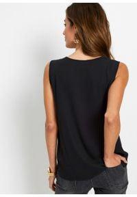 Bluzka bez rękawów z wiskozy bonprix czarny. Kolor: czarny. Materiał: wiskoza. Długość rękawa: bez rękawów. Wzór: nadruk