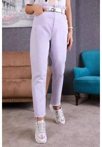 Fioletowe jeansy IVET w kolorowe wzory