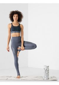 4f - Legginsy z otworem na piętę do jogi z materiałów z recyklingu damskie. Stan: podwyższony. Kolor: szary. Materiał: materiał. Sport: joga i pilates