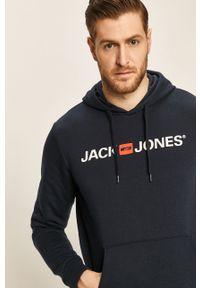 Niebieska bluza nierozpinana Jack & Jones z kapturem, na co dzień, z nadrukiem, casualowa