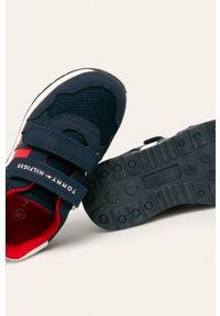 Niebieskie buty sportowe TOMMY HILFIGER z cholewką, na rzepy, z okrągłym noskiem