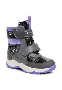 Szare buty zimowe Geox na spacer, z aplikacjami