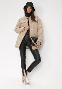 Born2be - Czarne Spodnie Skinny Galippe. Stan: podwyższony. Kolor: czarny. Materiał: prążkowany. Długość: długie