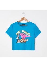 House - T-shirt z nadrukiem The Flinstones - Turkusowy. Kolor: turkusowy. Wzór: nadruk