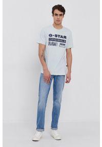 G-Star RAW - G-Star Raw - T-shirt. Okazja: na co dzień. Kolor: turkusowy. Materiał: bawełna, dzianina. Wzór: nadruk. Styl: casual