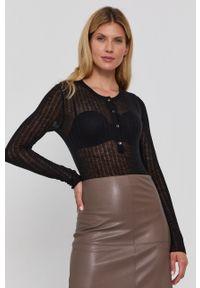 Patrizia Pepe - Sweter wełniany. Kolor: czarny. Materiał: wełna. Długość rękawa: długi rękaw. Długość: krótkie