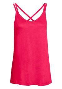 Top na cienkich ramiączkach bonprix różowy hibiskus. Kolor: różowy. Długość rękawa: na ramiączkach