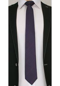 Stylowy Krawat Męski w Bordowy Rzucik - Chattier , Ciemny Granatowy. Kolor: niebieski. Materiał: tkanina. Styl: elegancki