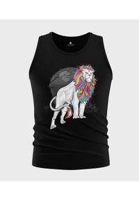 MegaKoszulki - Koszulka męska bez rękawów Tęczowy lew. Materiał: bawełna. Długość rękawa: bez rękawów