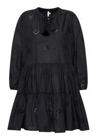 Seafolly Sukienka letnia Embroidery 54155-DR Czarny Regular Fit. Kolor: czarny. Sezon: lato