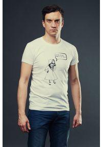 Hultaj Polski - T-shirt MIASTO JEST MOJE męski biały. Okazja: do pracy, na uczelnię, na spacer. Kolor: biały. Materiał: bawełna, jeans