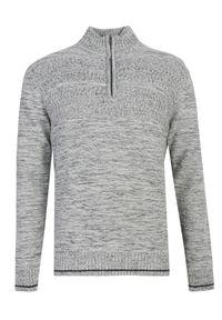 Szary sweter TOP SECRET na spacer, z długim rękawem, z golfem