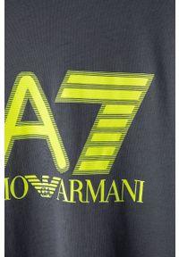 EA7 Emporio Armani - T-shirt. Okazja: na co dzień. Kolor: szary. Wzór: nadruk. Styl: casual