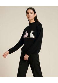 Luisa Spagnoli - LUISA SPAGNOLI - Czarny sweter z kaszmirem Copper. Kolor: czarny. Materiał: kaszmir. Długość rękawa: długi rękaw. Długość: długie. Wzór: haft