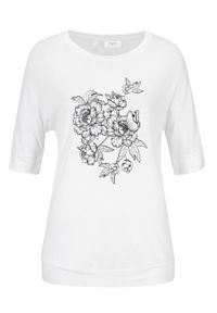 """Shirt """"nietoperz"""", rękawy do łokcia bonprix biały w roślinny wzór. Kolor: biały"""