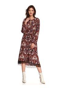 TOP SECRET - Printowana sukienka o luźnym kroju. Kolor: czerwony. Typ sukienki: koszulowe