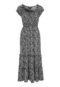 Czarna sukienka Happy Holly maxi, w kwiaty