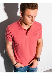 Pomarańczowa koszulka polo Ombre Clothing polo, klasyczna, z haftami