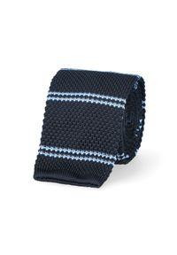Niebieski krawat Lancerto w paski, na co dzień, casualowy