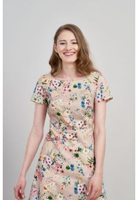 Marie Zélie - Sukienka Asteria Cosmo. Materiał: materiał, skóra, bawełna, elastan. Wzór: gładki. Typ sukienki: trapezowe. Styl: klasyczny
