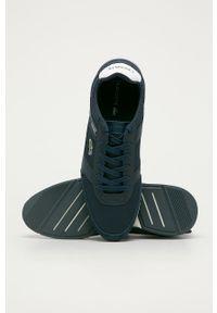 Niebieskie sneakersy Lacoste z okrągłym noskiem, na sznurówki, z cholewką