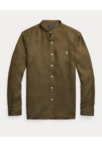 Ralph Lauren - RALPH LAUREN - Lniana koszula khaki Slim Fit. Typ kołnierza: polo. Kolor: zielony. Materiał: len. Długość rękawa: długi rękaw. Długość: długie. Wzór: haft. Styl: elegancki