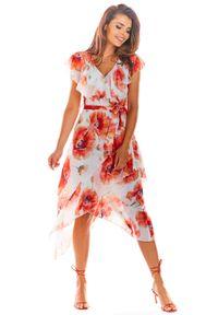 e-margeritka - Sukienka szyfonowa w kwiaty ecru - 42. Okazja: do pracy. Materiał: szyfon. Wzór: kwiaty. Typ sukienki: asymetryczne. Styl: elegancki. Długość: midi