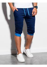 Ombre Clothing - Krótkie spodenki męskie dresowe P29 - granatowo-niebieskie - XXL. Okazja: na co dzień. Kolor: niebieski. Materiał: dresówka. Długość: krótkie. Styl: casual