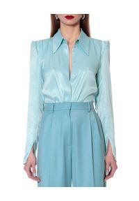 AGGI - Bluzka z jedwabiem Stevie. Kolor: niebieski. Materiał: jedwab. Długość rękawa: długi rękaw. Długość: długie