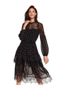 Czarna sukienka TOP SECRET w grochy, koszulowa