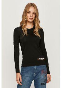 Czarny sweter Love Moschino z okrągłym kołnierzem, casualowy, z aplikacjami