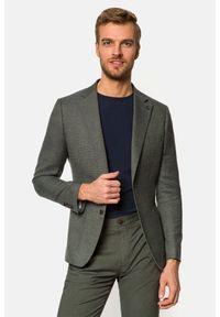Lancerto - Marynarka Szaro-Zielona Rhodes. Typ kołnierza: golf. Kolor: zielony. Materiał: jeans, wiskoza, materiał, tkanina, poliester. Wzór: gładki, kolorowy