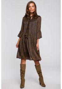 e-margeritka - Sukienka szyfonowa odcinana w pasie z falbanami - s. Materiał: szyfon. Typ sukienki: proste, rozkloszowane. Styl: elegancki