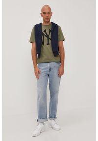 Niebieska bluza nierozpinana Premium by Jack&Jones gładkie, bez kaptura