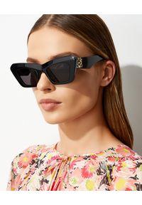 Loewe - LOEWE - Czarne okulary Cateye. Kolor: czarny. Wzór: aplikacja