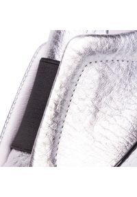 Srebrne półbuty na koturnie Togoshi na średnim obcasie, z cholewką #7