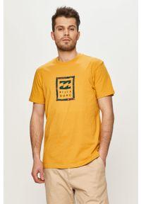 Żółty t-shirt Billabong z nadrukiem, na co dzień, casualowy
