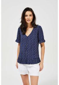 MOODO - Bluzka koszulowa w drobny wzór. Materiał: wiskoza