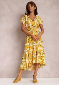 Renee - Żółta Sukienka Sabithoe. Kolor: żółty. Materiał: materiał. Wzór: kwiaty, aplikacja. Typ sukienki: kopertowe. Długość: midi