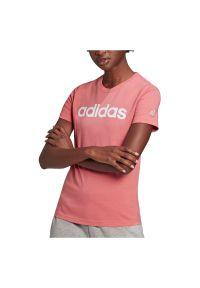 Adidas - Koszulka damska adidas Essentials Slim Logo GV4041. Materiał: bawełna, dresówka, dzianina. Długość rękawa: krótki rękaw. Długość: krótkie. Wzór: gładki