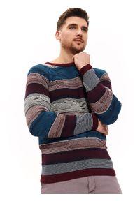 Czerwony sweter TOP SECRET na co dzień, casualowy