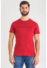 T-shirt Trussardi Jeans na co dzień, z nadrukiem, casualowy, z okrągłym kołnierzem