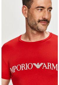 Czerwony t-shirt Emporio Armani na co dzień, z nadrukiem, casualowy