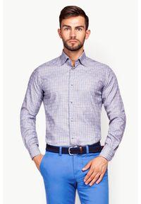 Lancerto - Koszula Mixkolor w Kratę Sofia. Okazja: do pracy. Kolor: niebieski. Materiał: jedwab, tkanina, bawełna, skóra. Styl: klasyczny, elegancki