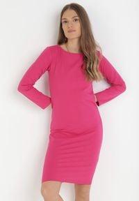 Born2be - Różowa Sukienka Sanya. Okazja: na co dzień. Kolor: różowy. Materiał: bawełna, dzianina, jeans. Długość rękawa: długi rękaw. Typ sukienki: proste, oversize. Styl: casual. Długość: mini
