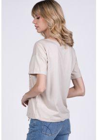 Beżowy t-shirt Monnari na co dzień, na lato, z krótkim rękawem